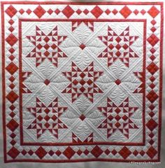 Celia designed an awesome quilt for her guild's red and white challenge. I was honored to partner with her to quilt it. We decided to keep the red and white theme and stitch red threa… Two Color Quilts, Blue Quilts, Star Quilts, Quilt Blocks, Star Blocks, Easy Quilts, Longarm Quilting, Free Motion Quilting, Machine Quilting