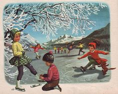 """Ice skating Martine"" by Marcel Marlier Marcel, Illustration Photo, Illustrations, Vintage Christmas Cards, Vintage Holiday, Merry Christmas, Vintage Images, Vintage Art, Vintage Paintings"