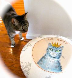 Foot stool becomes a cat bed!!  PennyWise: Thrift Benefit for Sheltered Animals: Animal Lifeline