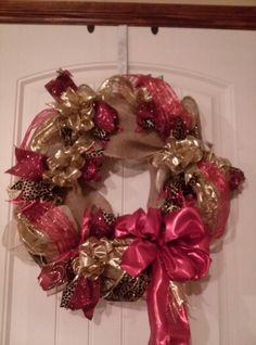 Cheetah print holiday wreath
