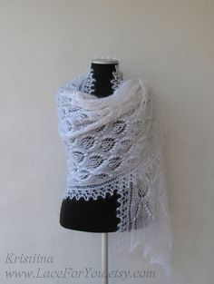 White hand knitted wedding lace shawl, white bridal kidsilk stole. $145.00, via Etsy.
