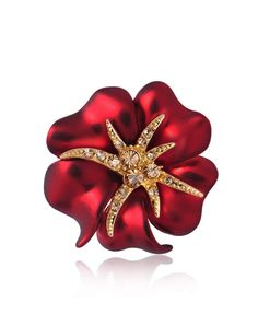 #AdoreWe #VIPme (VIPSHOP Global) Viennois❤️Designer Accessories Red Gold Plated Starfish Flower-shaped Brooch - AdoreWe.com