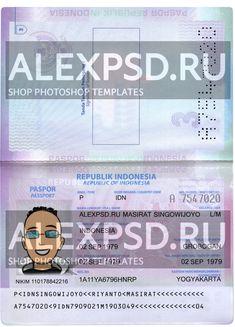 Indonesia passport - ALEXPSD Passport Template, Psd Templates, Photoshop, Names