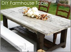 DIY Farmhouse Table -Great weekend project for indoor or outdoor farmhouse table with video! Also links to how to make new wood look old and weathered.