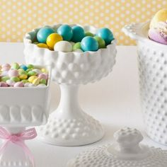 Love these milk glass candy holders