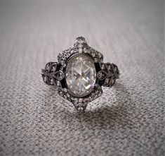 """Double Rose Cut All G-H Moissanite Gemstone Engagement Ring Leaf Black Norwegian Viking Rustic Victorian Oval 14K White Gold """"The Edith"""" by PenelliBelle on Etsy"""
