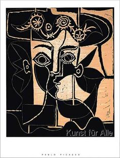 Pablo Picasso Large Woman S Head with Decorated Hat print for sale. Shop for Pablo Picasso Large Woman S Head with Decorated Hat painting and frame at discount price, ships in 24 hours. Cheap price prints end soon. Art Picasso, Picasso Paintings, Georges Braque, Ouvrages D'art, Art Et Illustration, Printmaking, Artwork, Abstract Art, Abstract Paintings