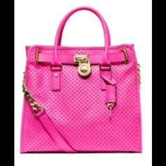 Michael Kors Pink Perforated Hamilton Tote