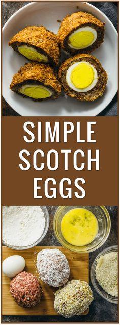 simple easy scotch eggs, baked, fried, sauce, scottish, irish, british, ground meat, pork sausage, dinner recipe, protein, portable snack via /savory_tooth/