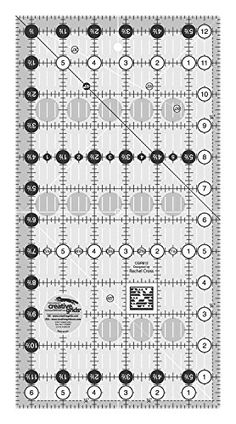 Easy to read on light or dark fabrics. Creative Grids Non Slip 6-1/2 Inch X 12-1/2 Inch Rectangle Quilting Ruler