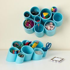 10 Colorful Desk Accessories DIY office cubicle organization with PVC pipe & Paint Kids Desk Organization, Kids Storage, Craft Storage, Wall Storage, Shelf Wall, Storage Ideas, Pvc Storage, Office Storage, Playroom Storage