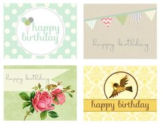 New Happy Birthday Printable Cards FREE at Pumpkins and Posies!