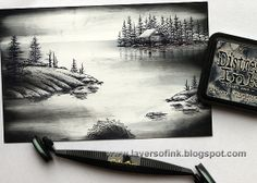 Layers of ink: At the Sea Scenic Stamping Tutorial