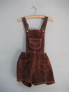 vintage leather shortalls