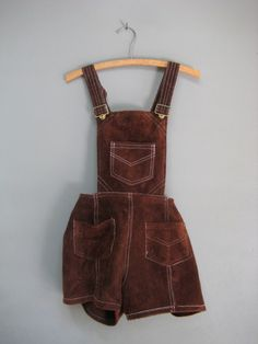vintage leather shortalls