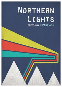 Retro print poster northern lights experience by EmuDesigns