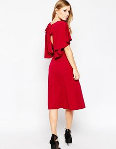 Image 1 ofASOS Crepe Midi Dress with Soft Cape Back