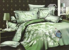 Cosy White Floral and Colourful Butterflies 4 Piece Cotton Bedding sets (10489944)
