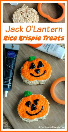 Part of the fun of Halloween is making fun Halloween treats! That's why you've got to try making these delicious and cute Jack O'Lantern Rice Krispie Treats! Kids would have a lot of fun drawing their own funny faces on!