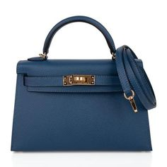 Guaranteed authentic Hermes Kelly 20 Mini Sellier bag featured in rich, saturated Deep Blue. Hermes Kelly Bag, Hermes Bags, Hermes Handbags, Fashion Handbags, Hermes Birkin, Top Designer Handbags, Designer Shoes, Hand Bags 2017, Hermes Orange