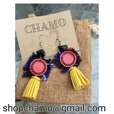 """#chamo #earringsforsale #lasercut #red #acrylic #fabric from #guatemala  #gold #leather #fringe red medallion size of a quarter 3.5"""" long #earringsoftheday #boho #tribal #custom #oneoff #unique #jewelry #accessories #fashion #atlanta #indiedesigner #indiefashion  NAME YOUR PRICE!! Best price wins these one of a kind earrings. email shopchamo@gmail.com or dm me!! by nutellabrownbaby"""