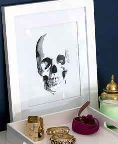 Skull Watercolor Giclee Print 8.5 x 11. $25.00, via Etsy.