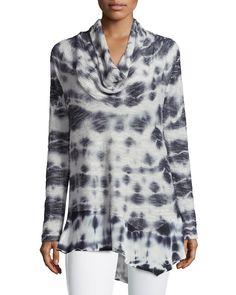 XCVI Long-Sleeve Cowl Neckline Jersey Tunic, Oceanblack, Women's, Size: XS, Oceanblk