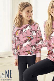 Pink Unicorn Crew Neck Sweater (3-16yrs) (652076) | Kč360 - Kč400