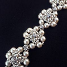 Ivory pearl bracelet Wedding bracelet from glass pearls and crystals Beadwoven bridal bracelet in Victorian style Evening beaded jewelry Bead Jewellery, Sea Glass Jewelry, Beaded Jewelry, Beaded Bracelets, Pearl Necklaces, Jewellery Designs, Ankle Bracelets, Jewellery Making, Silver Bracelets