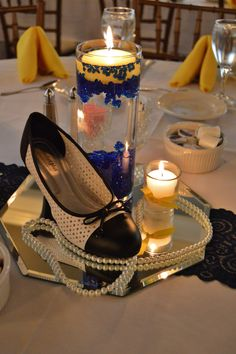 Blue and Yellow 50s Chic Centerpiece
