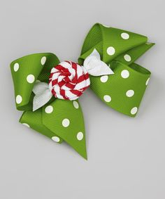 Take a look at this Green Polka Dot Bow & Peppermint Clip Set by Picture Perfect Hair Bows on #zulily today!