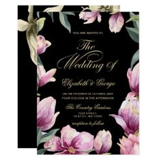 Floral Purple Black and Gold wedding Card - wedding invitations diy cyo special idea personalize card