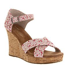 Toms STRAPPY WEDGE DITSY FLORAL BERRY EXCLUSIVE Shoes - Womens High Heels Shoes - Office Shoes