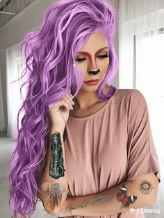#makeup #tattoo #artiste #artiste #makeup #tattoo Hair Color 2018, Ombre Hair Color, Pretty Hairstyles, Wig Hairstyles, Overtone Hair, Lavender Hair Colors, Hair Streaks, Glam Hair, Celebrity Hairstyles