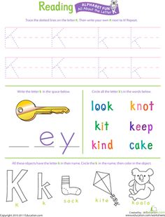 Worksheets: Get Ready for Reading: All About the Letter K