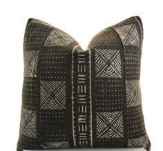 African+Mudcloth+Pillow+Cover+Black+White+Brown+Mud+by+BohoPillow