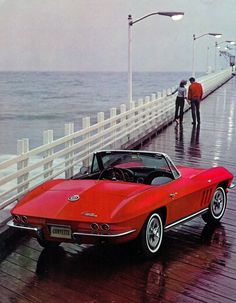 A corvette .. with the top down,  the ocean,    a walk on the pier... on a rainy day... ... how  romantic #chevroletcorvettevintage