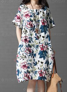 Women loose fit plus size cotton linen dress vintage flower pocket skirt casual … - New Dress Sewing Clothes Women, Clothes For Women, Casual Skirts, Casual Outfits, Dress Casual, Vintage Skirt, Vintage Dresses, Vestido Casual, Style Casual
