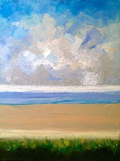 "Beach, original oil painting on canvas, 18""x24"", abstract landscape, modern art, blue, white, beige, green. $325.00, via Etsy."