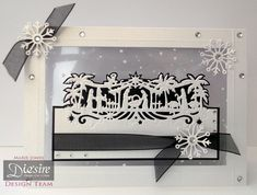 Marie Jones – Crafter's Companion - Die'sire Edge'ables – Bethlehem - Die'sire Snowflakes - Centura Pearl Snow White Hint of Gold - Matt Black card - Snowy Acetate - Collall All Purpose & Tacky Glues - Cut n Boss - Other: Ribbon, gems - #crafterscompanion #Christmas