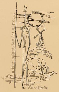Ex Libris - Don Quixote Sainte Rita, Raven Images, Woodcut Tattoo, Bruce Lee Art, Man Of La Mancha, Dom Quixote, Don Miguel, Medieval Art, Minimalist Art