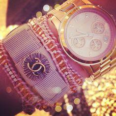 Fleur De Force - Michel Kors watch, Vintage Chanel button bow bracelet, http://FleurDeForce.com wrap bracelet