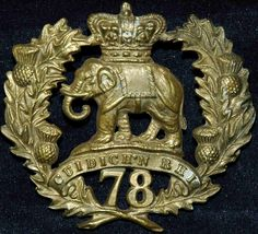 78TH SEAFORTH HIGHLANDERS VICTORIAN CAP BADGE - Nice example with Vic. Crown. Nice age patina.
