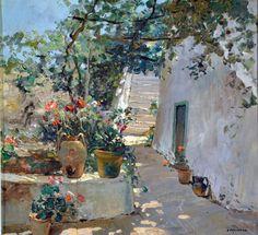 32 x 35 Collezione privata Italian Painters, Italian Artist, Simple Oil Painting, Pintura Exterior, Love Art, Landscape Paintings, Watercolor Art, Illustration, Art Pieces