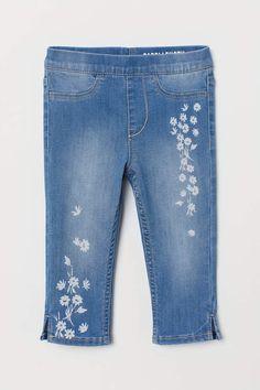 Off The High Street Girls Grey Jeans Straight Leg Diamante Embellished Casual Denim Adjustable Waist