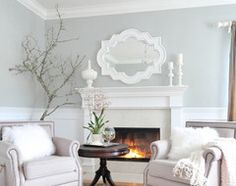 Wall color is behr silver tradition and behr river rock, the white is falling snow also by behr