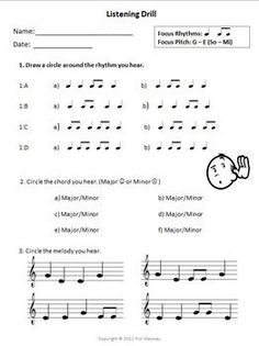 MUSIC Aural Worksheet: Listening Drill Template!  Free download!