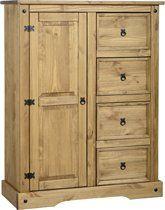Corona-Pine-Wardrobe-1-Door-4-Drawers-Bedroom-Furniture-0