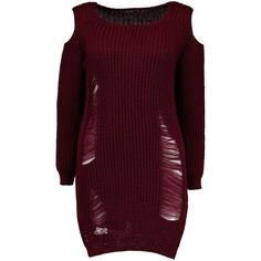 Boohoo Lottie Soft Knit Cold Shoulder Distressed Jumper Dress | Boohoo featuring polyvore women's fashion clothing tops sweaters knit dress ripped dress cold shoulder dress boohoo dresses purple dress