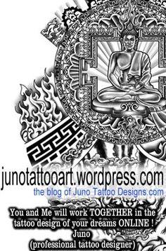 Buddhist Tibetan tattoo for full arm by Juno (professional tattoo designer online)